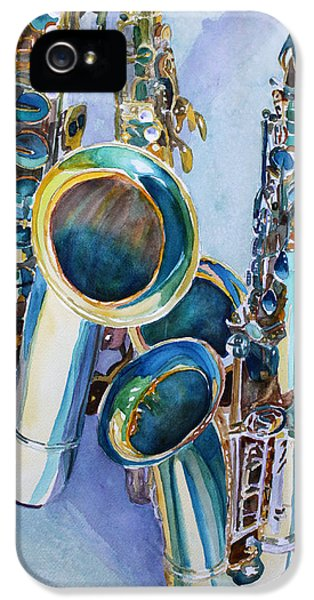 Saxophone iPhone 5 Case - Saxy Trio by Jenny Armitage