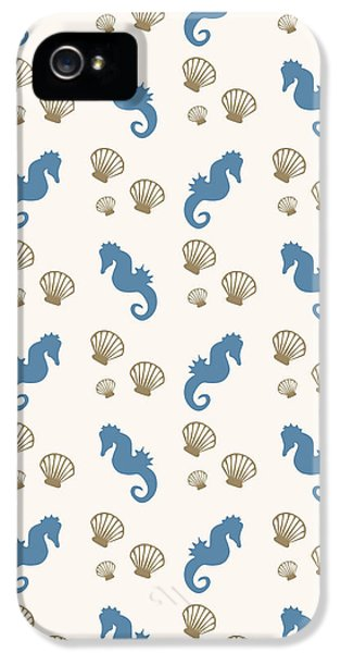 Seahorse And Shells Pattern IPhone 5 Case by Christina Rollo