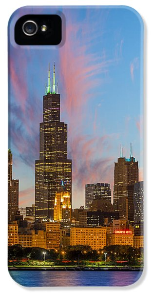 IPhone 5 Case featuring the photograph Sears Tower Sunset by Sebastian Musial