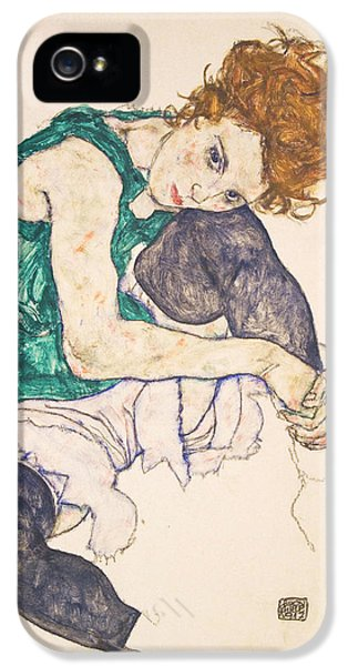 Seated Woman With Legs Drawn Up. Adele Herms IPhone 5 / 5s Case by Egon Schiele