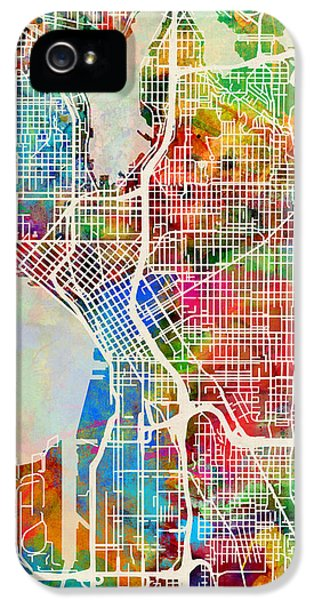Seattle Washington Street Map IPhone 5 / 5s Case by Michael Tompsett