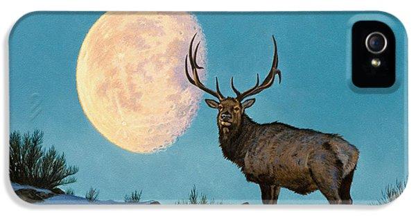 Bull iPhone 5 Case - Setting Moon And Elk by Paul Krapf