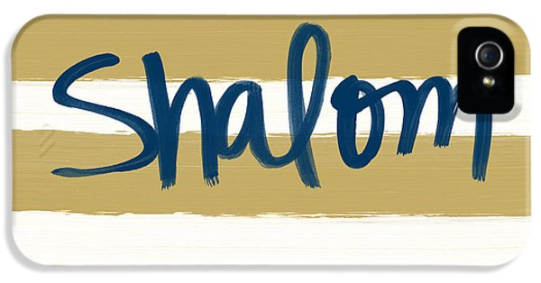 Shalom- Blue With Gold IPhone 5 Case by Linda Woods
