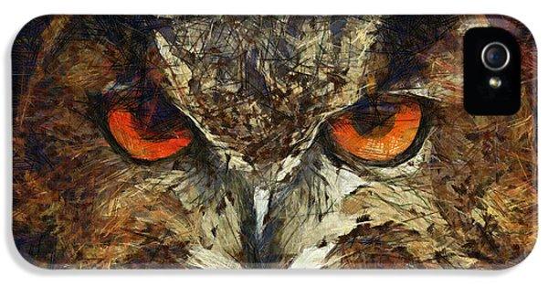 Sharpie Owl IPhone 5 Case by Ayse Deniz