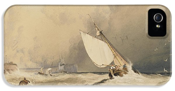 Ships At Sea Off Folkestone Harbour Storm Approaching IPhone 5 Case by Anthony Vandyke Copley Fielding