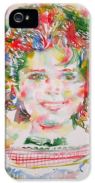 Shirley Temple - Watercolor Portrait.1 IPhone 5 Case by Fabrizio Cassetta