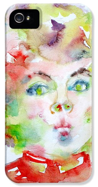Shirley Temple - Watercolor Portrait.2 IPhone 5 Case by Fabrizio Cassetta