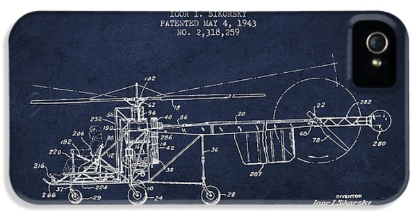 Sikorsky Helicopter Patent Drawing From 1943 IPhone 5 / 5s Case by Aged Pixel