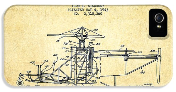 Sikorsky Helicopter Patent Drawing From 1943-vintage IPhone 5 / 5s Case by Aged Pixel