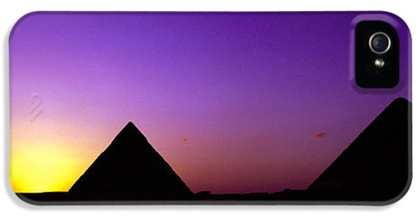 Silhouette Of Pyramids At Dusk, Giza IPhone 5 Case by Panoramic Images