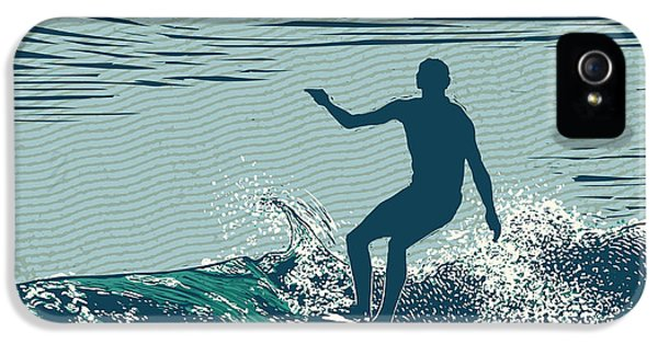 Pacific Ocean iPhone 5 Case - Silhouette Surfer And Big Wave by Jumpingsack