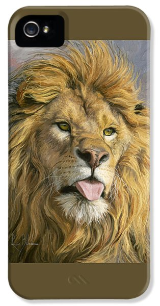 Lion iPhone 5 Case - Silly Face by Lucie Bilodeau