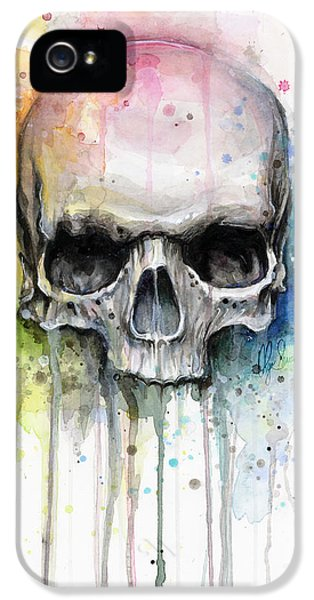 Skull Watercolor Painting IPhone 5 Case by Olga Shvartsur