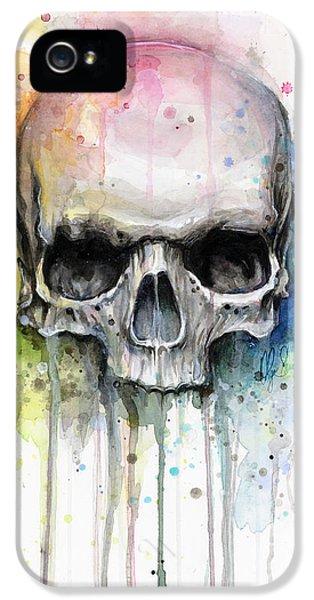 Skull Watercolor Painting IPhone 5 Case by Olga Shvartsur