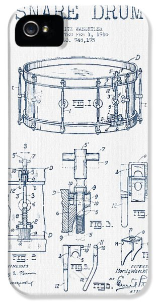 Drum iPhone 5 Case - Snare Drum Patent Drawing From 1910  - Blue Ink by Aged Pixel