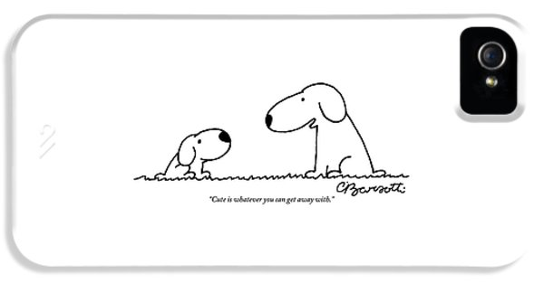 Snoopy Talks To Snoopy Junior About Being Cute IPhone 5 Case by Charles Barsotti