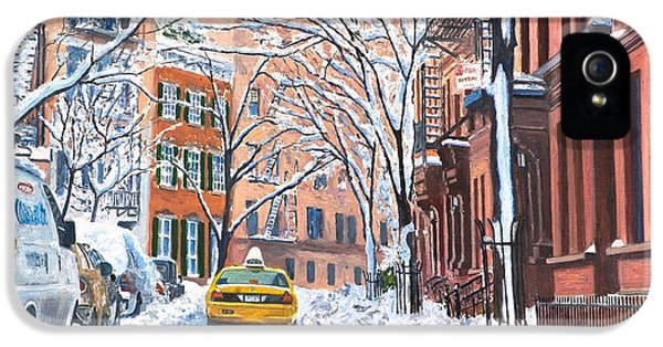 Snow West Village New York City IPhone 5 Case by Anthony Butera