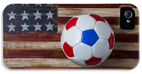 Soccer Ball On American Flag IPhone 5 Case by Garry Gay