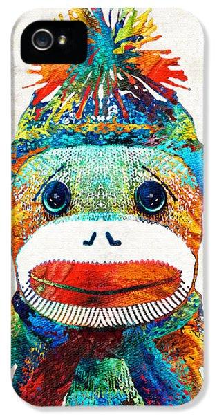 Sock Monkey Art - Your New Best Friend - By Sharon Cummings IPhone 5 Case by Sharon Cummings