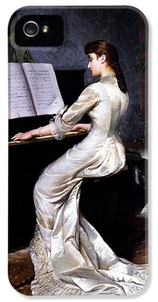 Song Without Words, Piano Player, 1880 IPhone 5 Case by George Hamilton Barrable