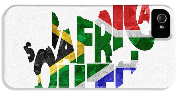 South Africa Typographic Map Flag IPhone 5 Case by Ayse Deniz