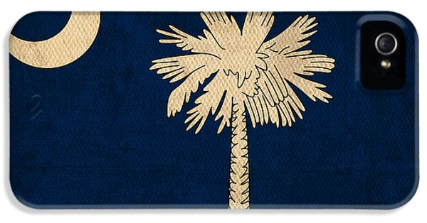 South Carolina State Flag Art On Worn Canvas IPhone 5 Case