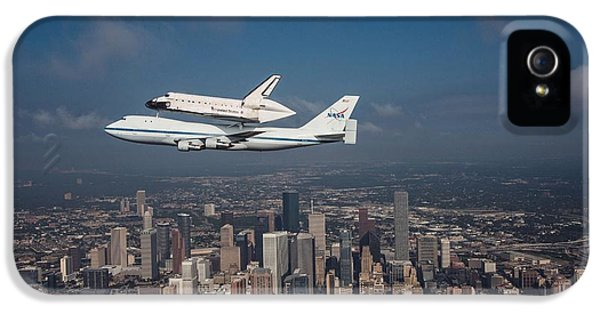 Space Ships iPhone 5 Case - Space Shuttle Endeavour Over Houston Texas by Movie Poster Prints