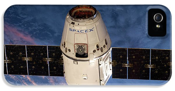 Spacex Dragon Capsule At The Iss IPhone 5 Case by Nasa