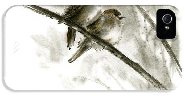 Sparrows Sumi-e Original Ink Painting Artwork IPhone 5 Case by Mariusz Szmerdt