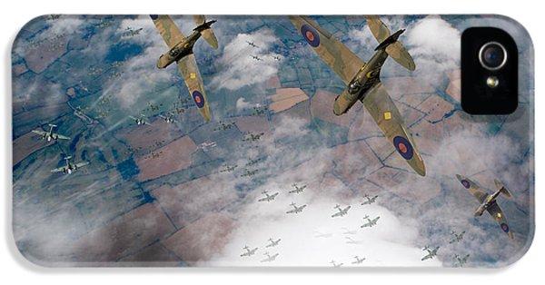 Raf Spitfires Swoop On Heinkels In Battle Of Britain IPhone 5 Case by Gary Eason