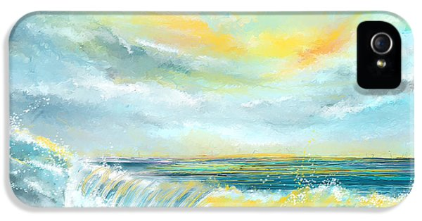Splash Of Sun - Seascapes Sunset Abstract Painting IPhone 5 Case by Lourry Legarde