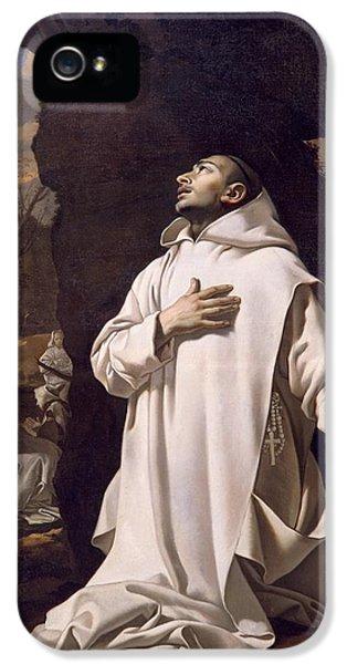 St Bruno Praying In Desert IPhone 5 Case by Nicolas Mignard