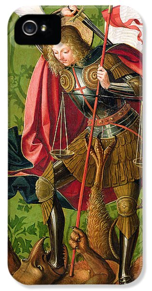 St. Michael Killing The Dragon  IPhone 5 Case by Josse Lieferinxe