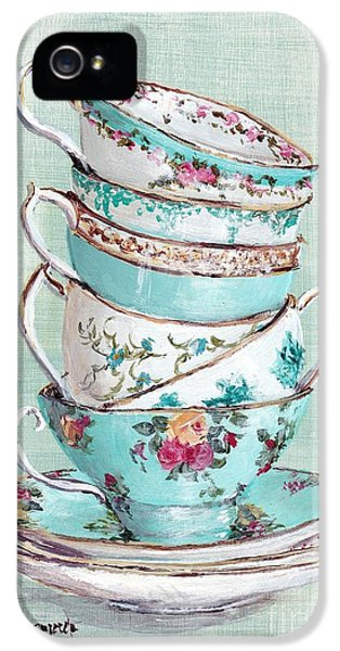Stacked Aqua Themed Tea Cups IPhone 5 Case by Gail McCormack