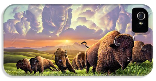 Bison iPhone 5 Case - Stampede by Jerry LoFaro