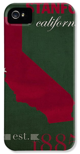 Stanford University Cardinal Stanford California College Town State Map Poster Series No 100 IPhone 5 Case by Design Turnpike