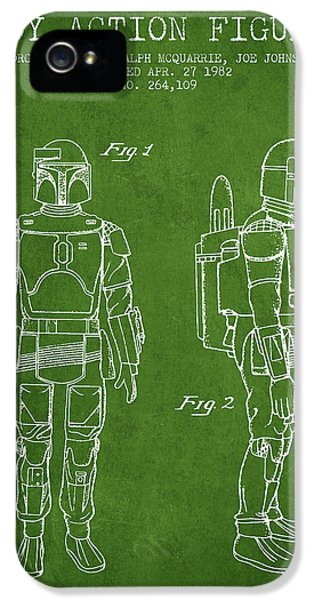 Star Wars Boba Fett Patent From 1982 - Green IPhone 5 Case by Aged Pixel