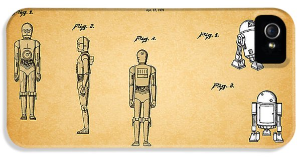 Star Wars - C3po And R2d2 Patent IPhone 5 Case by Mark Rogan