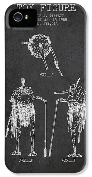 Star Wars Toy Figure Patent Drawing From 1985 - Charcoal IPhone 5 Case by Aged Pixel