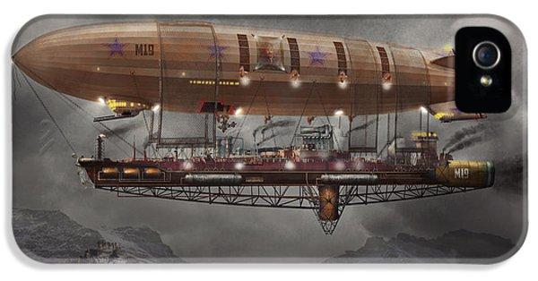 Steampunk - Blimp - Airship Maximus  IPhone 5 Case by Mike Savad
