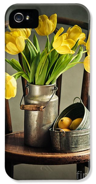 Still Life With Yellow Tulips IPhone 5 Case by Nailia Schwarz