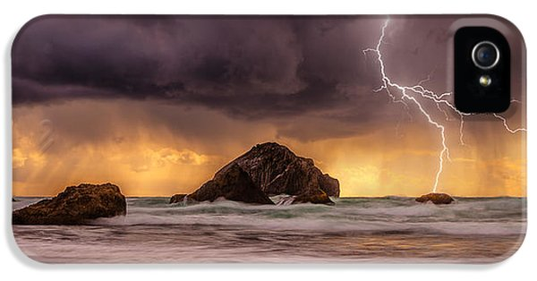 Storm At Face Rock IPhone 5 Case by Darren  White