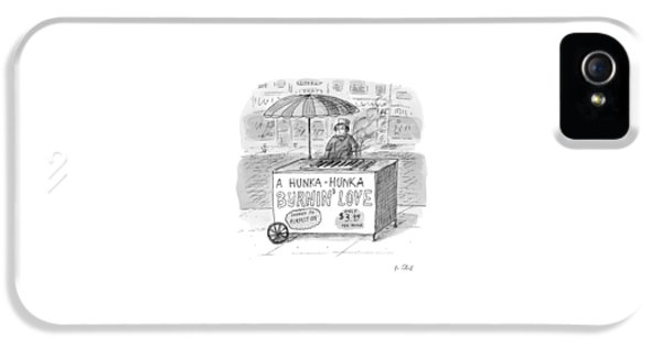 Street Vendor Stands Behind His Cart IPhone 5 Case by Roz Chast