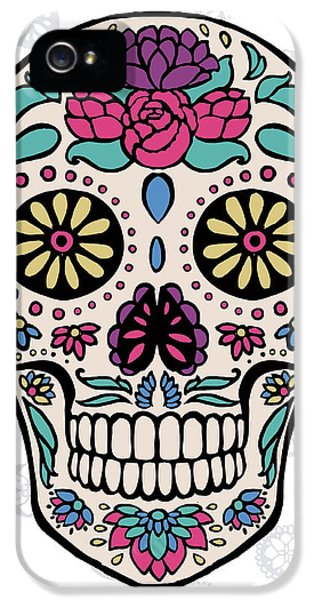 Sugar Skull IIi On Gray IPhone 5 Case by Janelle Penner