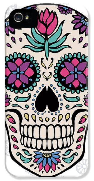 Sugar Skull Iv On Gray IPhone 5 Case by Janelle Penner