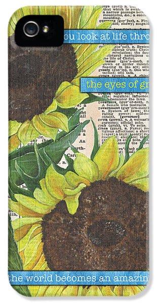 Sunflower iPhone 5 Case - Sunflower Dictionary 2 by Debbie DeWitt