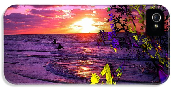 Sunset Over The Water While Children Play IPhone 5 Case by Marvin Blaine