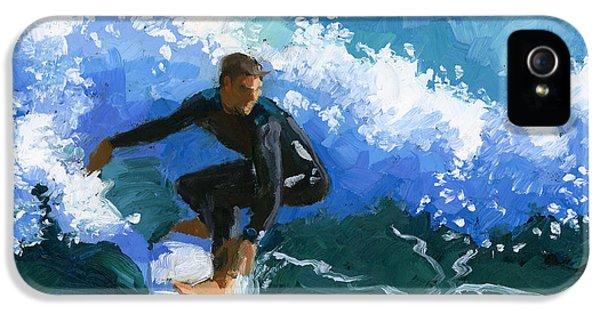 Surfin' Huntington Beach Pier IPhone 5 Case by Alice Leggett