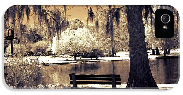 Surreal Fantasy Ethereal Infrared Sepia Park Nature Landscape  IPhone 5 Case by Kathy Fornal