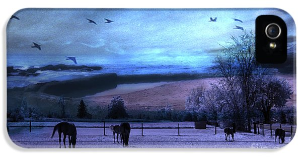 Surreal Fantasy Fairytale Horse Landscapes - Fairytale Blue Skies IPhone 5 Case by Kathy Fornal